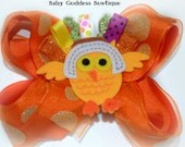 SALE**Thanksgiving Baby Hair Bow- Girls Turkey Bow- Turkey Outfit Mathing Bow- 1st Thanksgiving Hair Bows-Turkey Tutu Matching Bow