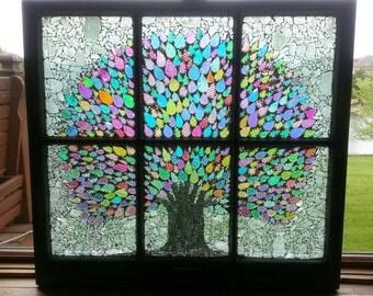 OOAK Dichroic Glass Mosaic Tree Vintage 6 Pane Window