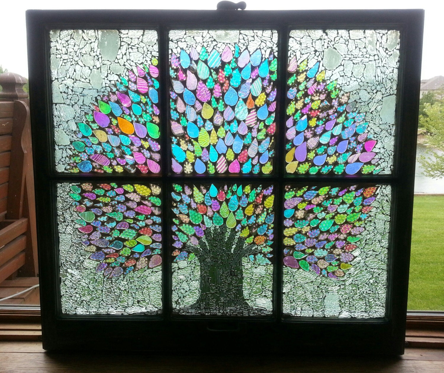 Ooak dichroic glass mosaic tree vintage 6 pane window for Glass windows