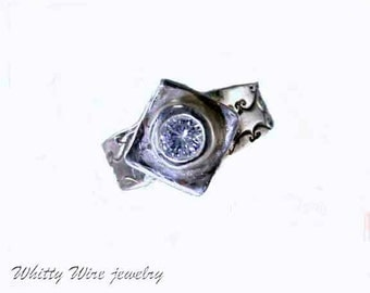 Fine silver ring with Clear Cubic Zirconia