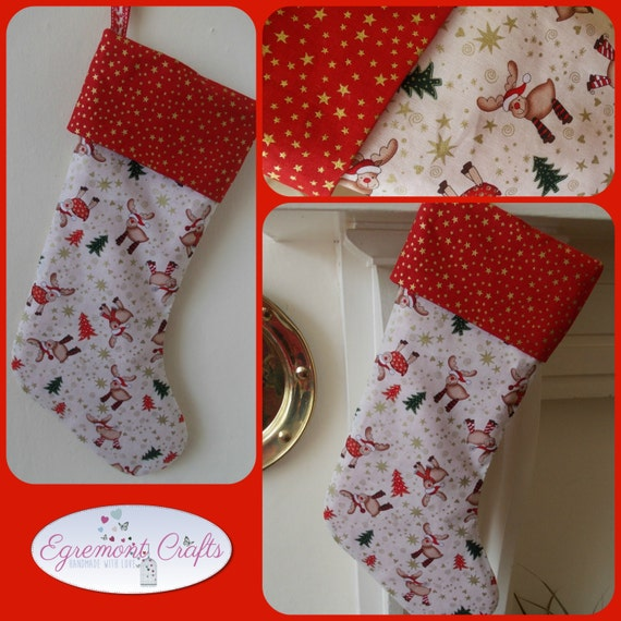 Christmas stocking handmade fully lined reindeers snowmen santa