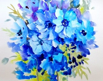Blue Anemones, original watercolor painting, 20 X 15 in, bright blue, electric blue floral art, flowers