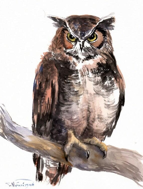 Horned Owl Original Watercolor Painting 12 X 9 In Owl Art