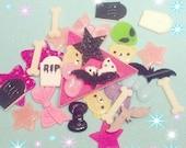 10 pieces - Creepy Cute Grab Bag! bats, bones, RIP, and more!