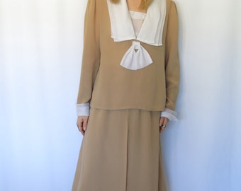 Vintage Two Piece/ 1970's Does 20's/ Flapper Style/ Deco/ Sheer Cream and White/ Draped/ High Waisted Skirt Suit/ Erna/ Large