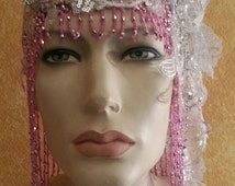 Gatsby 20's Style Pink Waterfall Beaded Lace Crystal Flapper Headpiece Hat Bridal Wedding Costume Party Theatrical Burlesque / More Colors .