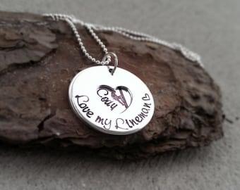 Journeyman Lineman - Lineman Necklace - Lineman Wife - Lineman Girlfriend - Love my Lineman Necklace - Personalized Lineman Jewelry