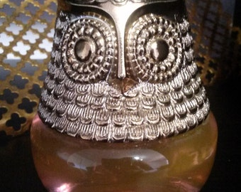 Vintage 1970s Collectible Avon Gold and Glass Owl Perfume Bottle with Rose Perfume