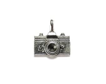 1 Camera  Metal Silver Two sided Charm, 22x21 mm, Camera Charm, 35mm Camera, Retro charm, Camera Pendant, Photography Charm,SLT027