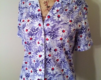 Vintage Soft Blue and Red Floral Button up Blouse