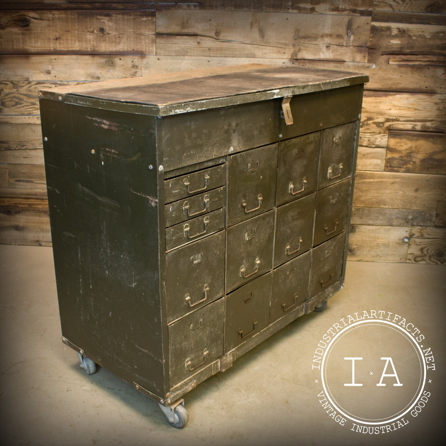 Vintage Industrial Army Military Locking Tool Cabinet Rolling