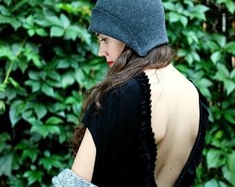 Women grey hat / felt cloche vintage style handmade hat, gatsby style women hat Winter hat