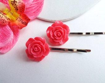 Rose hair pins Pink Flower bobby pins Pretty rose bobby pins Floral Bridal hair accessories Brides maids Flower girls