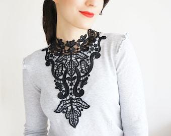 Venise Lace Necklace Lace Jewelry Black Necklace Bib Necklace Statement Necklace Body Jewelry Lace Fashion Fashion Accessory / ALLORA