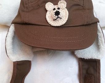 Boys Baby Infant Brown Winter Cotton Fleece Baseball Hat - Handmade Teddy Bear or Dog - Tan and Cream - One Size 6-12 months