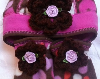 Baby Infant Girls Pink Brown Fleece Hat Mittens Set Bear Ears - Handmade Irish Rose Flowers - Size XS(approx. 0-6m) and  S(approx. 6-12 m)