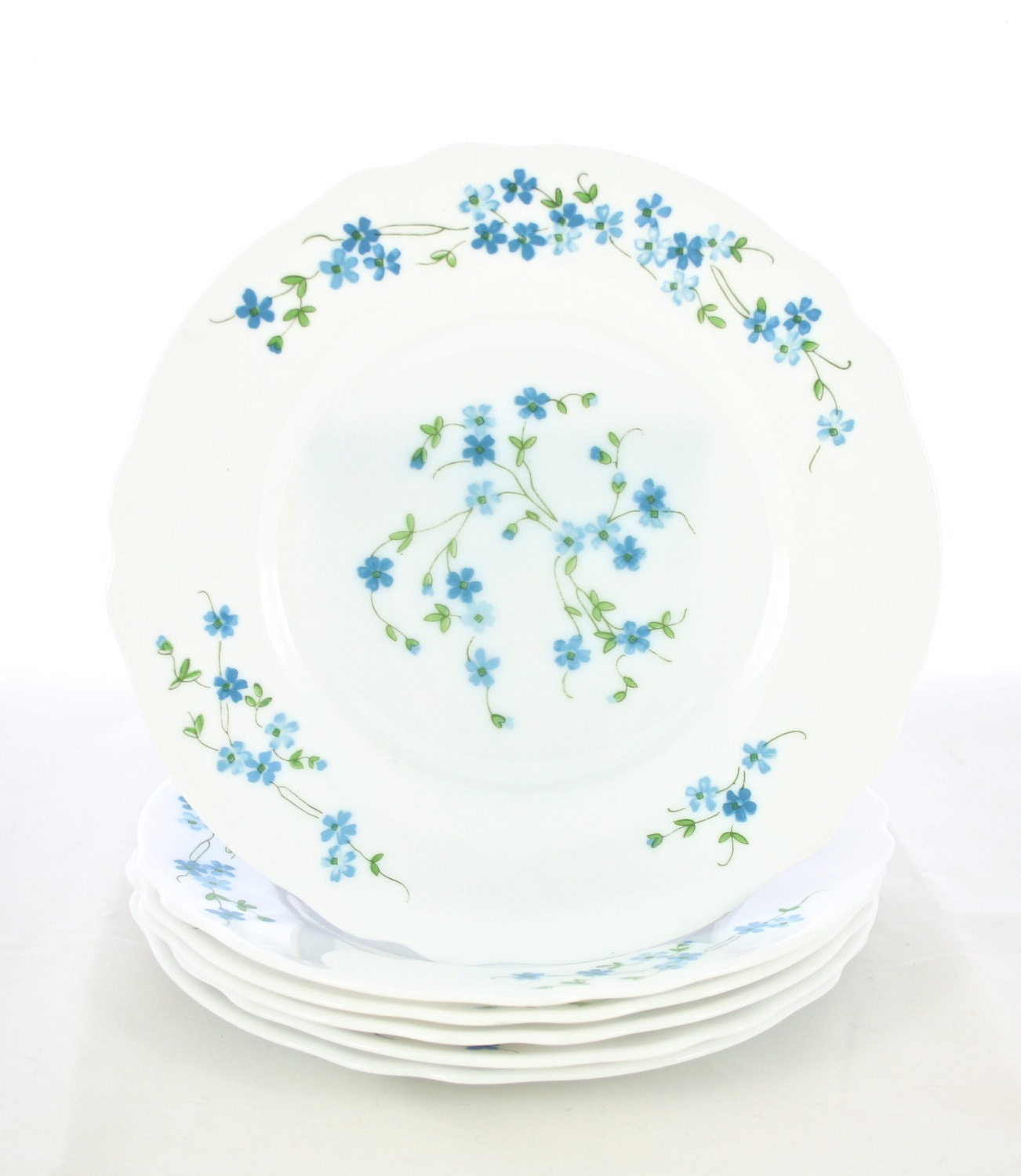 French White Milk Glass Dinner Plates Dinnerware Dishes Set