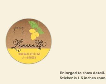 1.5 inch Round Labels, mini Limoncello stickers, favor labels