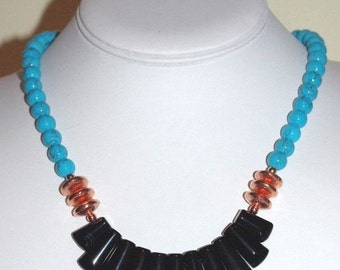 Natural Gemstone Necklace - Turquoise & Black Agate - S2374