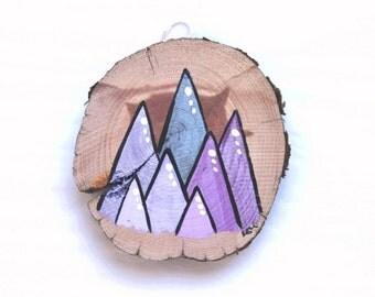 Purple Mountain Majesty - Salvaged Wood Painting - Geometric Abstract Landscape Art