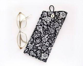 Black Floral Eyeglass Case