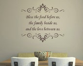 Kitchen Quote Wall Decal - Bless the Food Before Us - Vinyl Lettering -  Home Decor -Kitchen Vinyl Wall Decal