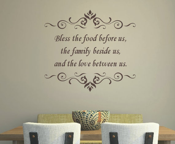 Kitchen quote wall decal bless the food before us vinyl for Kitchen quote decals