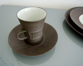 o o o Dansk Flamestone cup and saucer by Jens Quistgaard