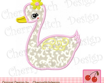 Swan Machine Embroidery Applique Design for girls - 4x4 5x5 6x6""