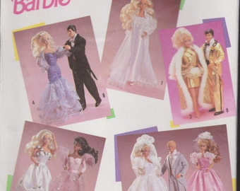 Vintage Simplicity Official Barbie and Ken Clothing Sewing Pattern!  #7362!! Mattel 1990!!