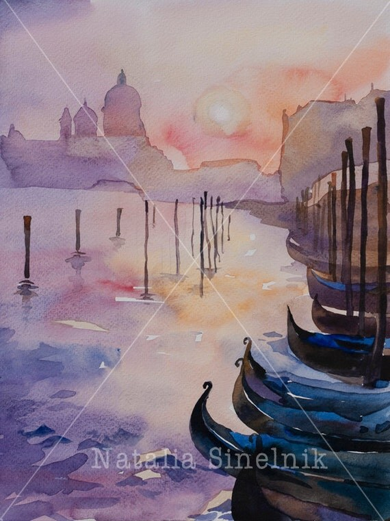 Venice sunset landscape digital download from original watercolor Italian romantic sights clipart