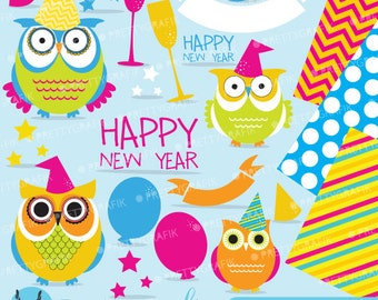 New year owl clipart | Etsy