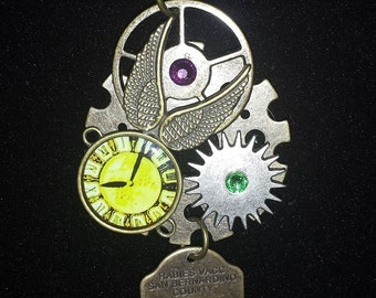 Steampunk Clock, Gears, Wings and Tag Necklace