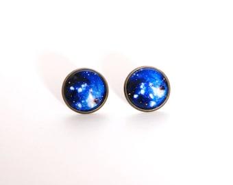 18mm Galaxy Post Earrings, Galaxy Nebula Earrings, Galaxy Nebula Jewelry, Space Nebula Jewelry, Space Nebula Earrings, Nebula Galaxy Jewelry