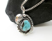 1960s Navajo Necklace, Genuine Turquoise & Sterling Silver, Signed H.O. Native American, Southwestern USA.