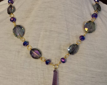 Vintage Upcycle Purple and Gold Chandelier Crystal Necklace and Earring Set