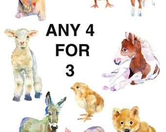 Nursery Art, Childrens Art,  Animal Paintings,  Animal Art,Childrens Wall Decor, Baby Animals