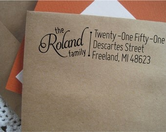 Family Return Address Stamp, Custom Address Stamp,  Housewarming Gift,  Pre-inked Stamp, Freeland