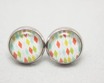 Glass Cabochon Earrings - Preppy Argyle Print - Silver Setting - One Pair