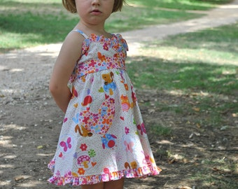 Sewing pattern LITTLE CUP CAKE dress girls pdf pattern by Felicity Patterns girls dress pattern size 1 - 10 years children's sewing patterns
