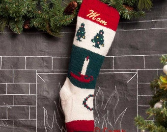 Knitted Christmas Stockings / Personalized Knit Wool Christmas Stocking / Bernat Personalized Knit Wool Christmas Stocking / Embroidered