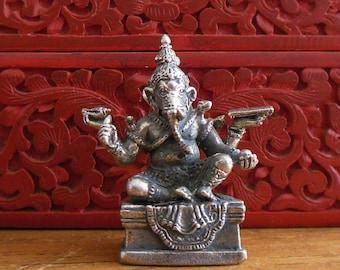 GANESH STATUE, Tiny brass Ganesh Deity, portable altar Ganesha with Magnificent Detail, Seated Ganesh Figurine
