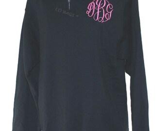 Personalized Sweatshirt Quarter Zip Black Large