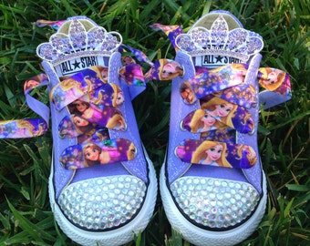 RAPUNZEL SHOES - Tangled Party - Rapunzel Costume - Tangled birthday outfit - Tangled Birthday - Bling Converse - Infant/Toddler/Youth