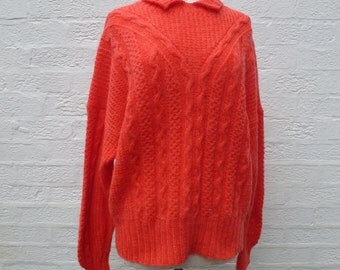 Sweater red jumper knitted sweater ladies jumper soft wool sweater chunky jumper cable knit sweater handmade jumper womans 90s clothing wool