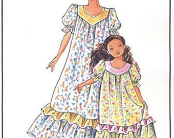 Girls' Pullover Muumuu w/Double Ruffles size 2-12 Victoria Jones Sewing Pattern #104