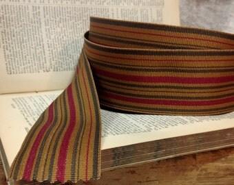 variegated striped saddle tan smokey grey and deep magenta red grosgrain ribbon