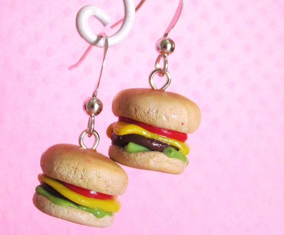 Mini Cheese Burger Earrings, Kawaii Polymer Clay Food Earrings, Handmade, Kids Women Kitsch Fast Junk Food Earrings by FrostedSoSweet