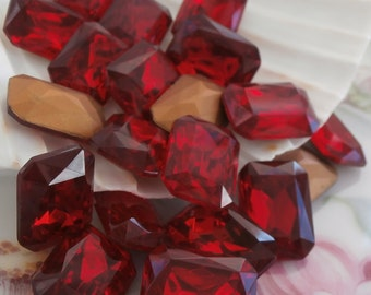 Vintage 18x13 MM Octagon Czech Crystals Red Siam Ruby ~ 2 Pieces ~ Made in Czechoslovakia ~ TTC Crystals ~ Vintage  Bridesmaids Crystals