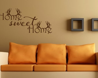 Home Sweet Home Wall Decal Antler Decor Hunting Decal Home Sweet Home Antlers Hunting Decor